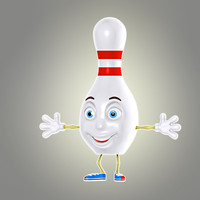 cartoon bowling pin 3d max