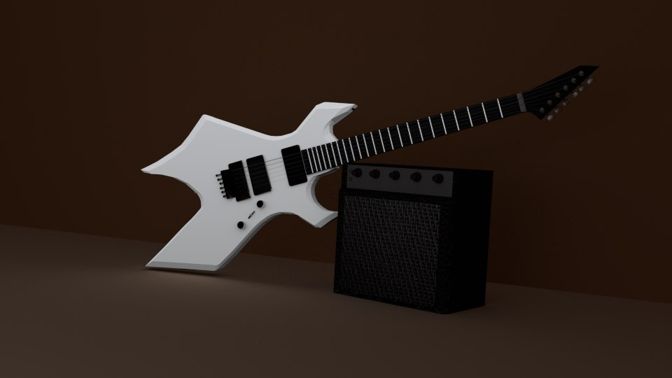 white electric guitar 3d 3ds
