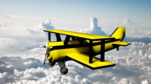 biplane sky 3d obj