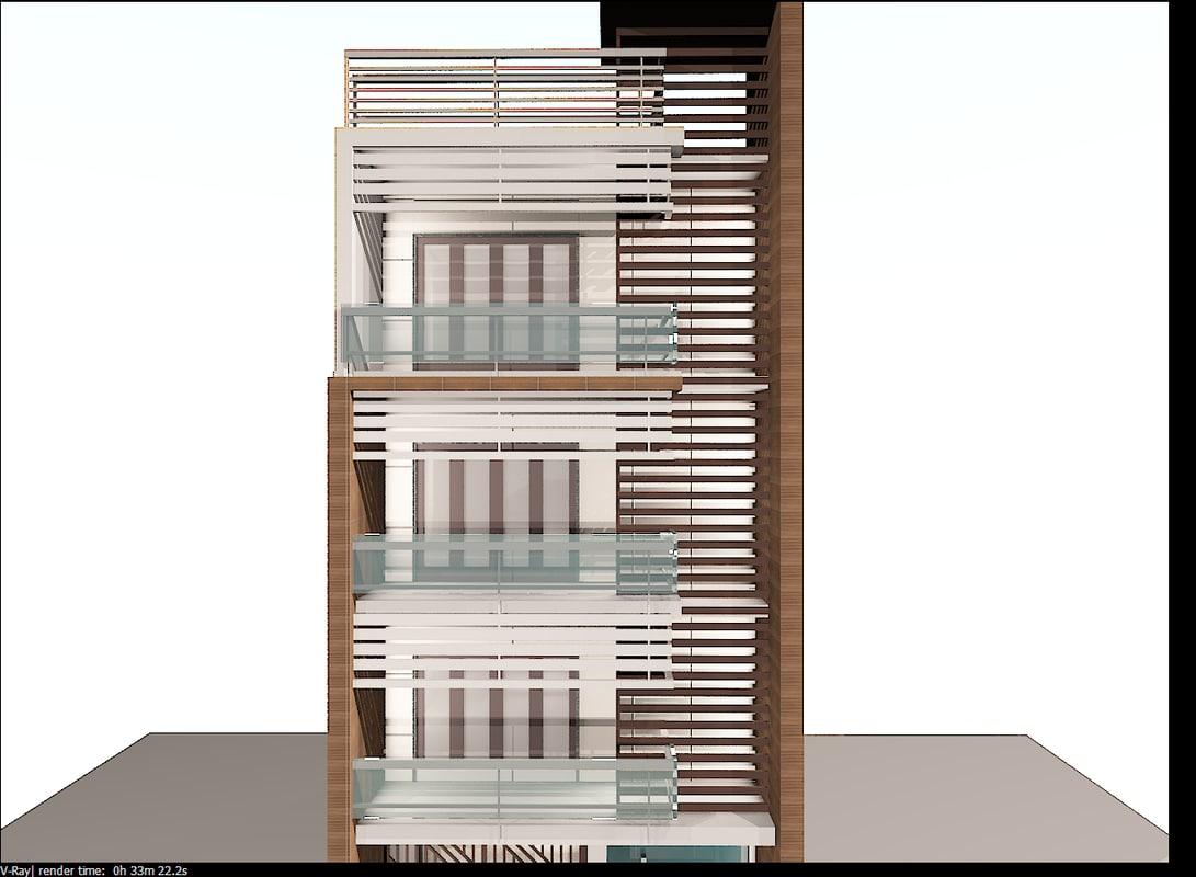 3d model modern building elevation