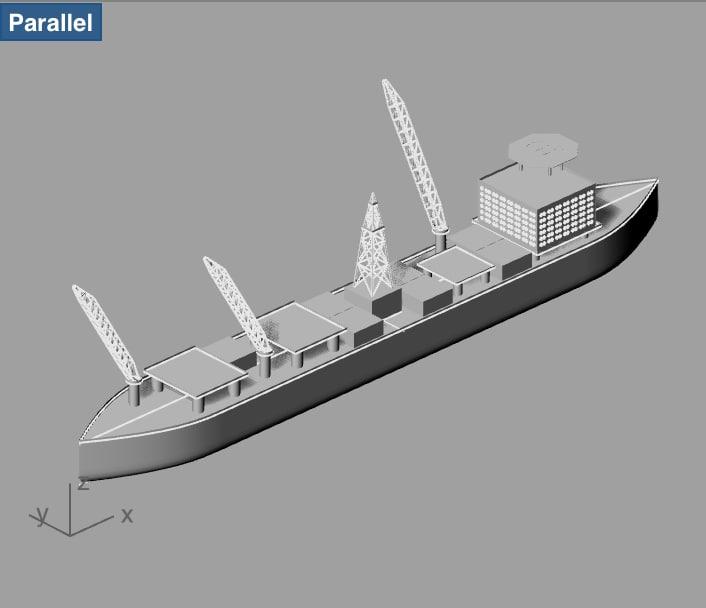3d drillship offshore oil model