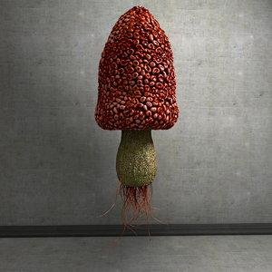mushroom shroom morel 3d obj