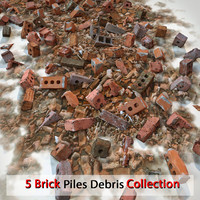 Brick Realistic Stone Debris Pile Detailed V ray v-ray Vray detail red dirty old dirt soil (2)