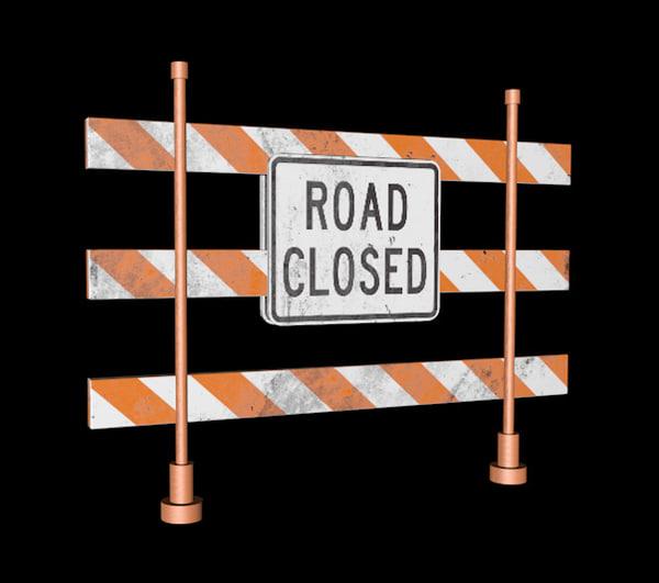 3d road closed sign