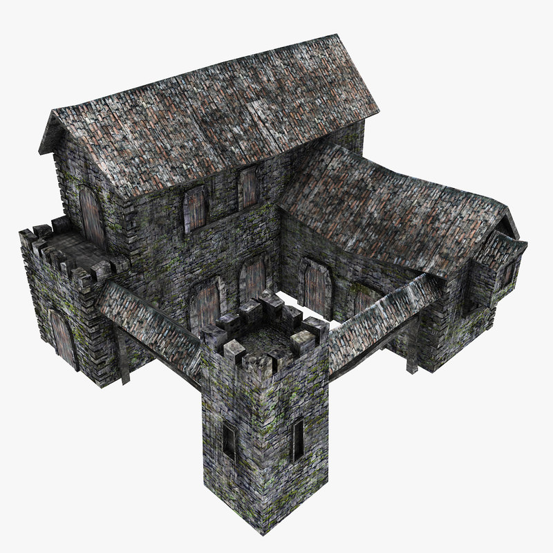 3d model medieval barracks
