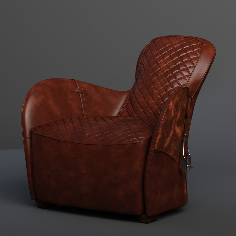 3d Saddle Armchair Model
