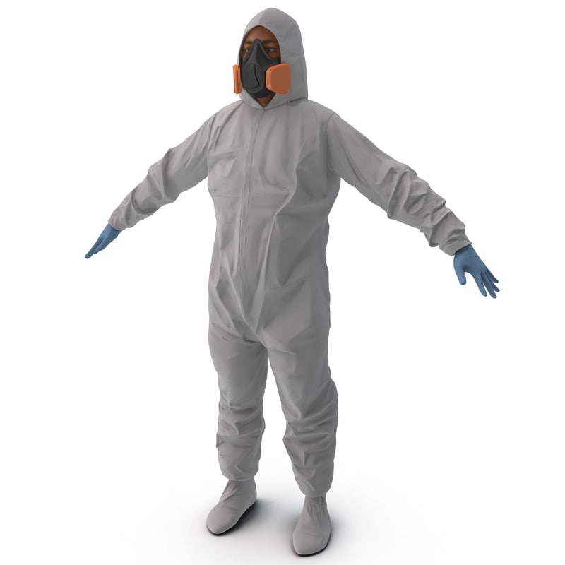 3d hazmat worker rigged model