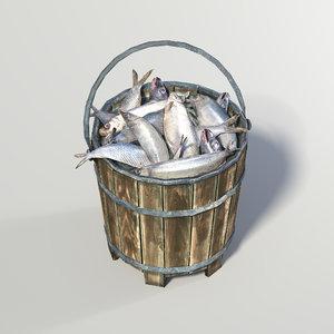 3d model bucket fish