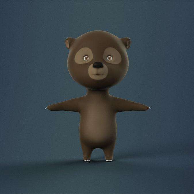 max rigged cartoon bear character