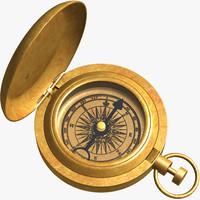 3d solid brass compass