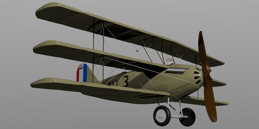 free aircraft curtiss 18-t 3d model