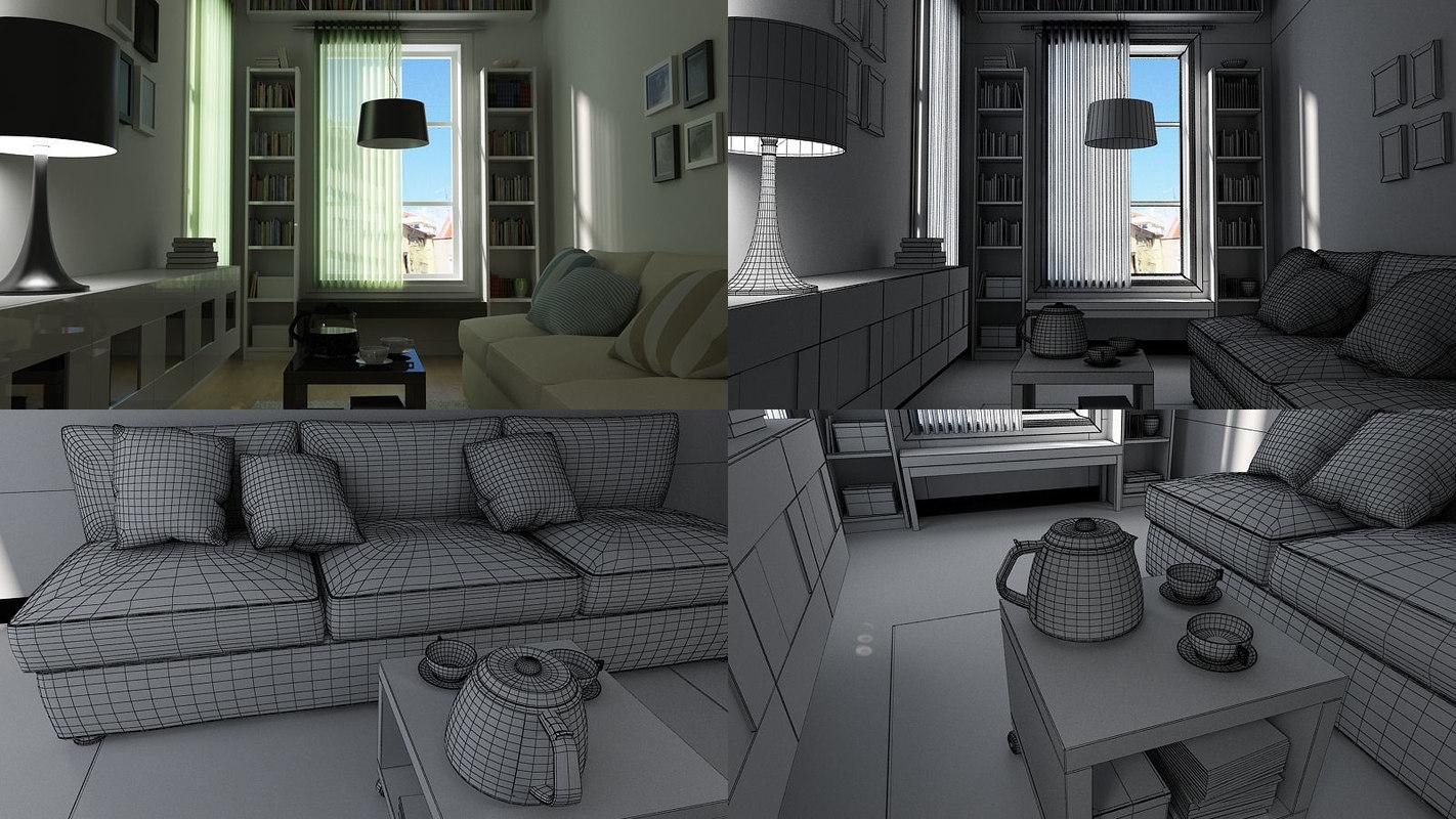 3ds max scene ikea living room