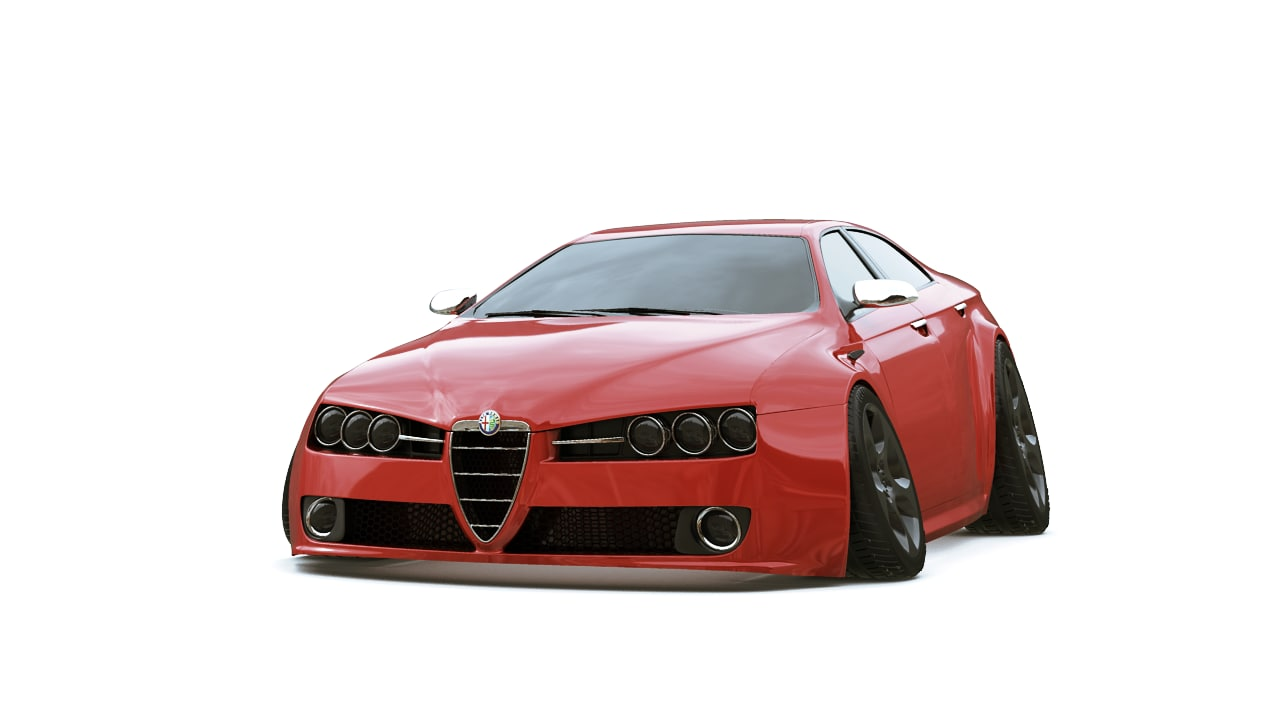 obj cartoon sport car alfa 159