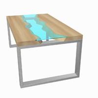 3d model modern table glass river