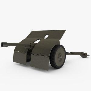 bofors gun anti-tank 3d model