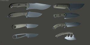 3d model of skeleton knives knife