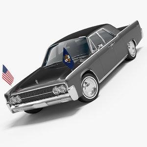 usa car 1962 continental 3d model