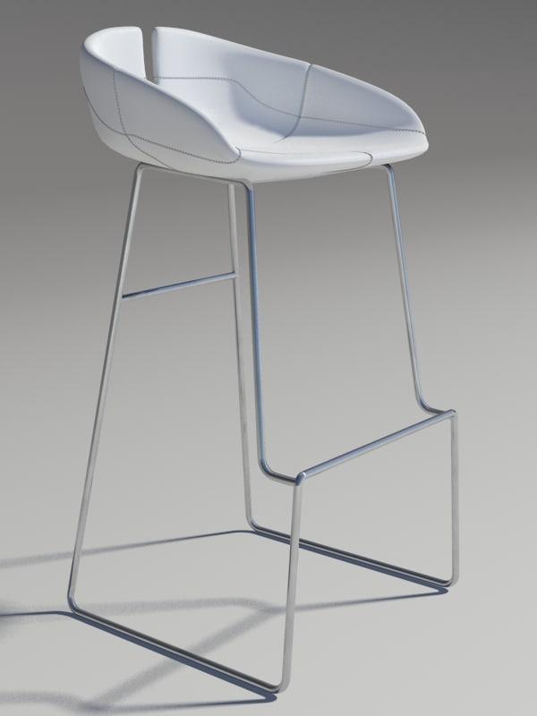 3dsmax fjord bar stool white