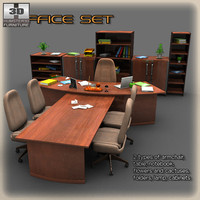 luxury office set 3d model