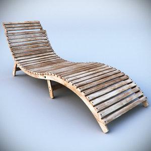 beach deck chair sunbed 3d model