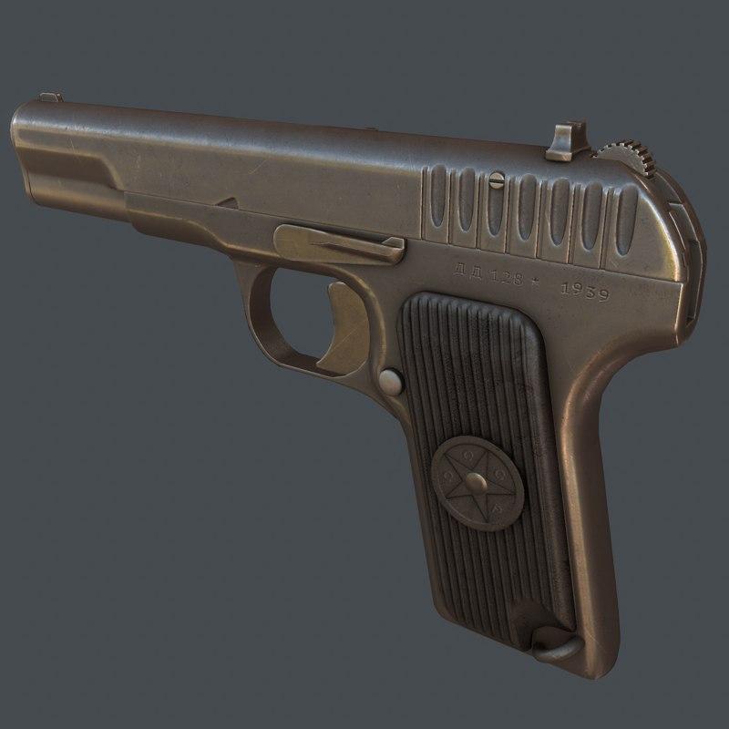 3d model of tt-33 tokarev gun