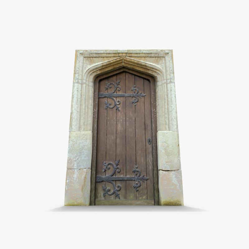 3d old wooden door stone arch model
