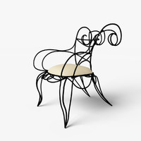 ram armchair ceccotti chair 3d model