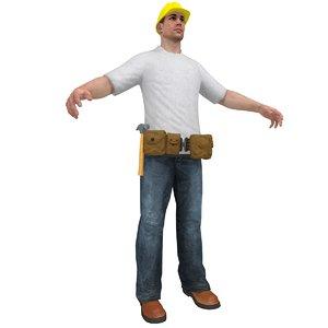 handyman worker man 3d model