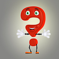 3d model cartoon question mark