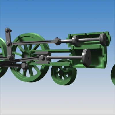 steam engine animation 3d model