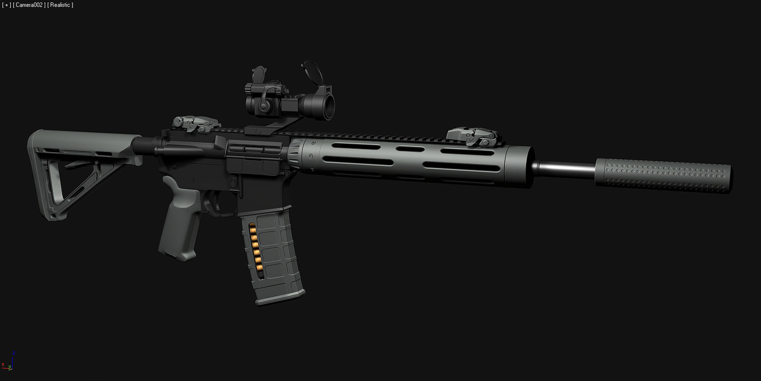 3d highpoly custom m4 rifle