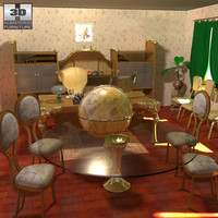 futuristic office set 3d 3ds