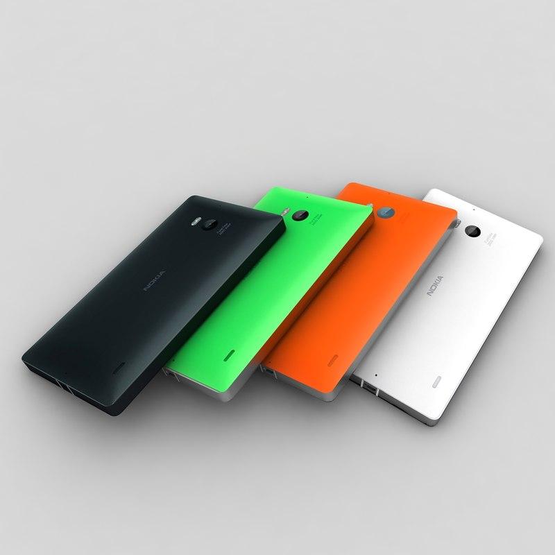 3d model nokia lumia 930 colour