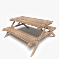 3d model wood picnic table