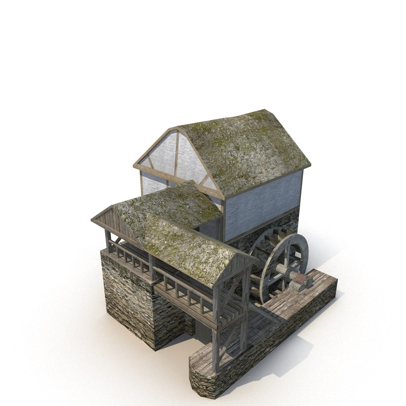 3d model of medieval watermill