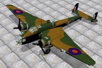 3d handley page hampden bombers model