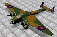 3d handley page hampden bombers model