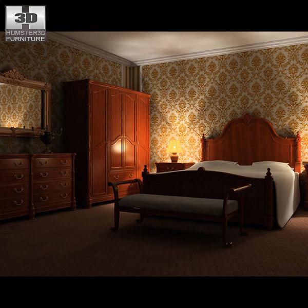 bedroom set 01 bed 3d model