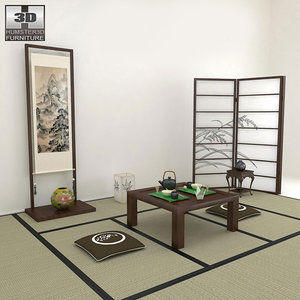 3ds max tea room table japanese style