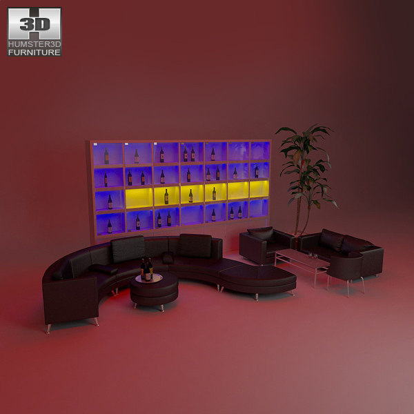 nightclub interior black obj