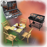 3d model of barbeque set