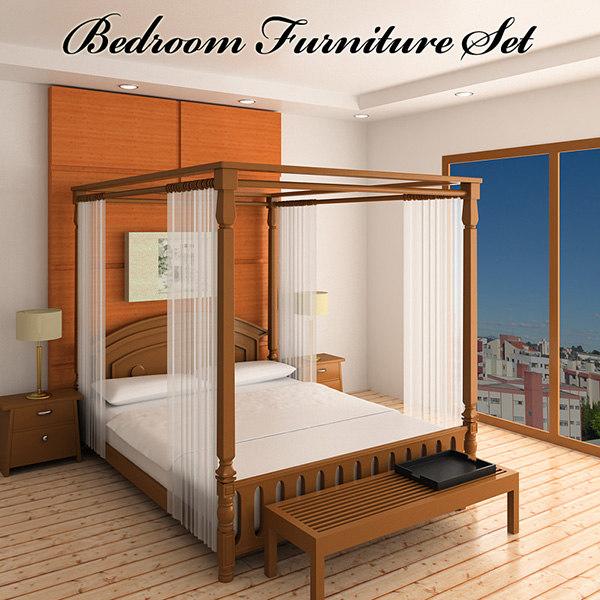 bedroom furniture 2 bed 3d max