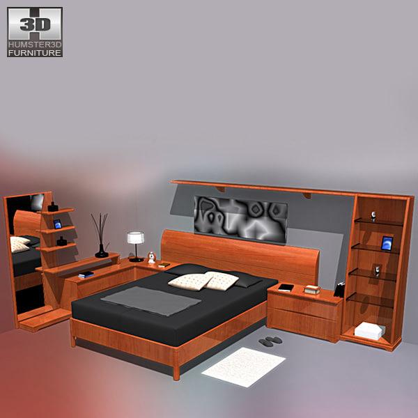 bedroom furniture 05 bed 3d obj
