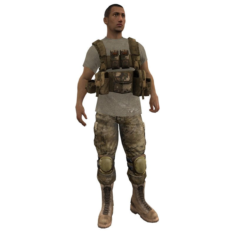 3d model of mercenary rigged soldier
