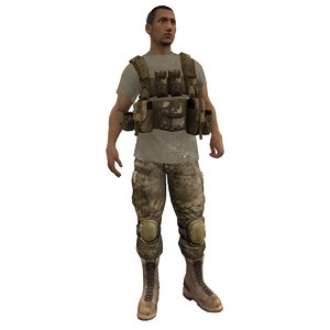 3d model of mercenary rigged soldier