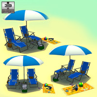 beach set 3d 3ds