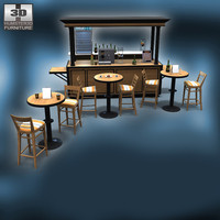 3d coffee cafe set