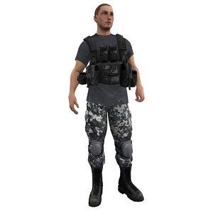 mercenary rigged soldier 3d ma