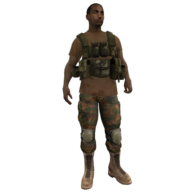 mercenary rigged soldier 3d model