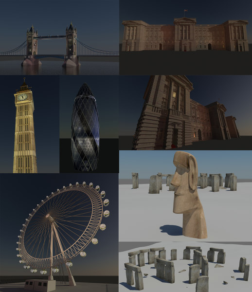 stonehenge tower bridge 3d max